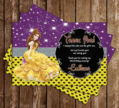 Disney Princess Belle - Beauty and the Beast - Birthday Thank You Cards