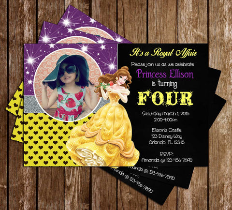 Novel concept designs birthday invitations disney princess belle beauty and the beast birthday invitation filmwisefo
