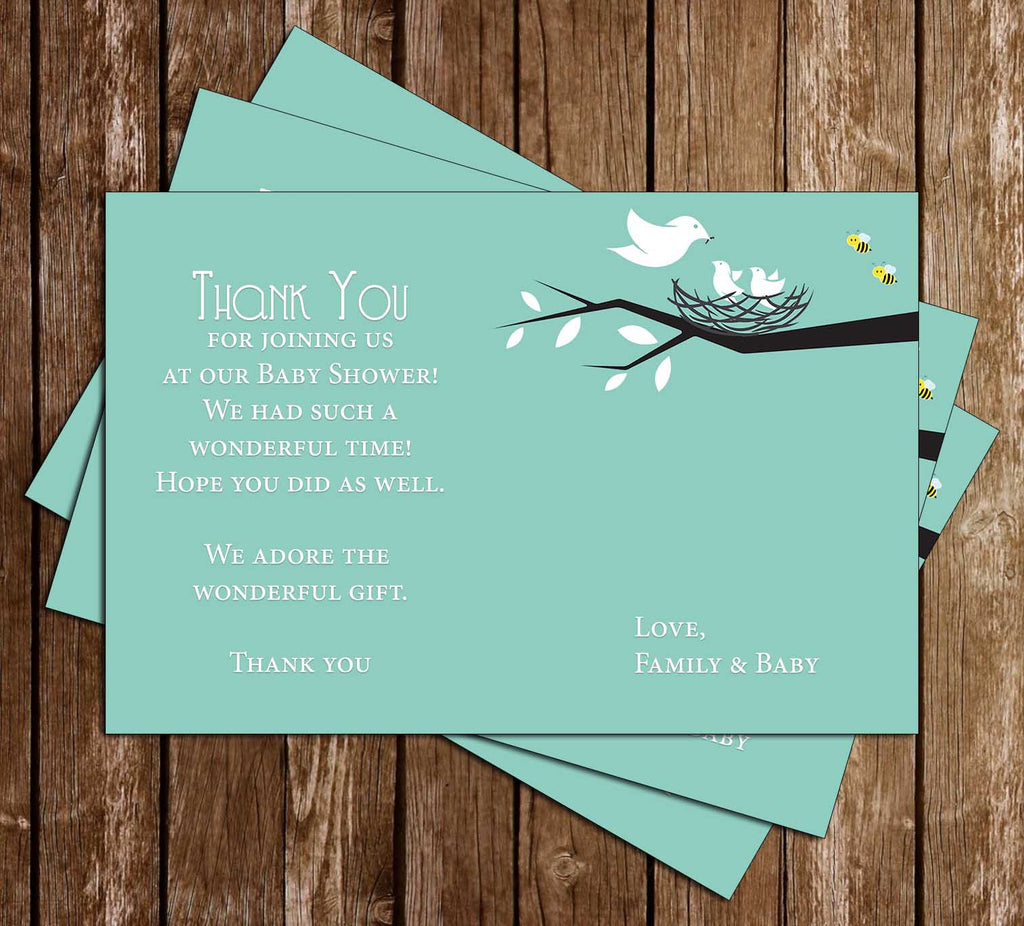 Birds & Bees - Baby Shower - Thank You Card