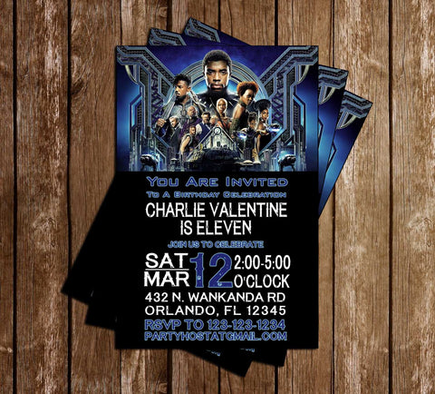 Black Panther - Blue - Birthday Party - Invitation