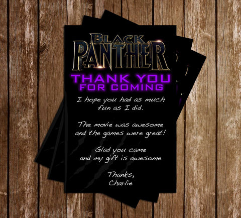 Black Panther - Movie - Birthday Party - Thank You Card