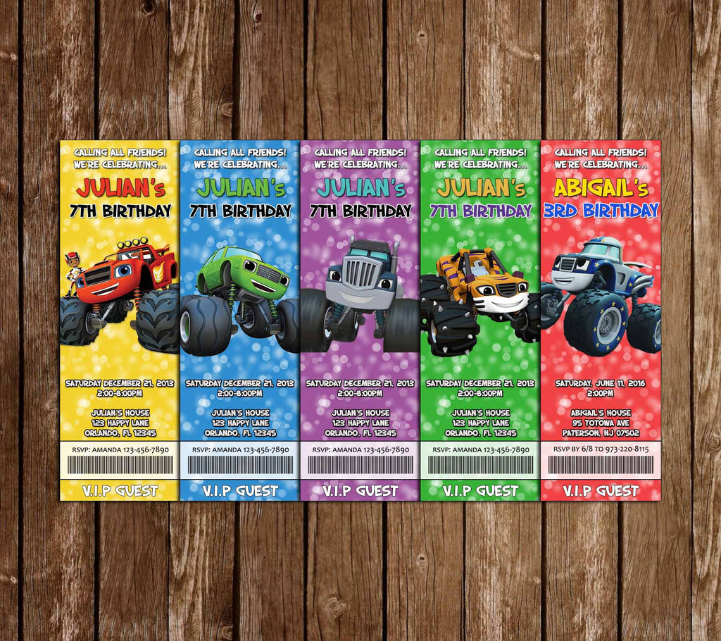 Blaze & the Monster Machines Ticket Birthday Invitations