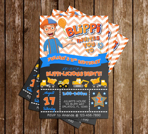 Blippi - Tall Chalk - Birthday Party - Invitation