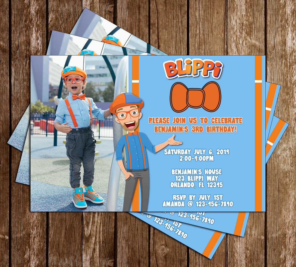 Blippi - Photo - Birthday Party - Invitation
