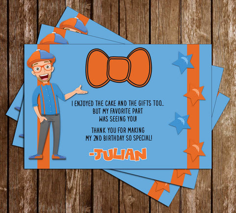 Blippi Show - Bowtie - Birthday Party - Thank You Card