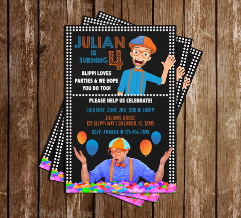 Blippi - Birthday Party - Invitation