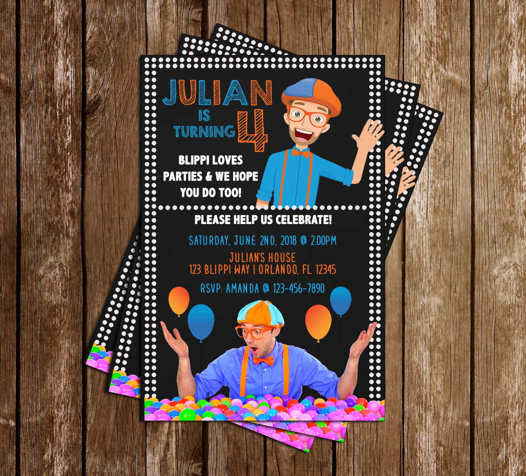 Blippi - Science - Birthday Party - Invitation