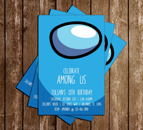 Among Us - Blue Crewmate - Birthday - Invitation