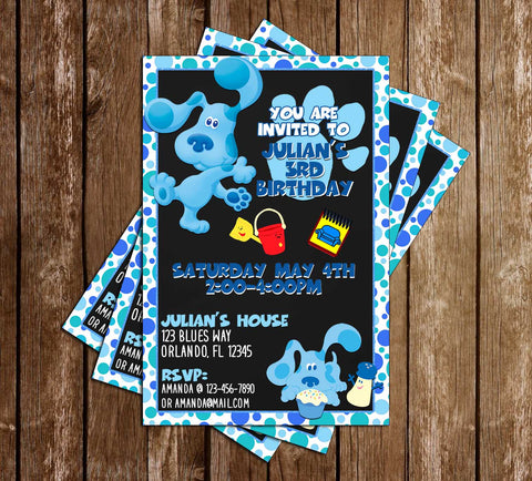 Blue's Clues - Nick Jr - Blue Birthday Party - Invitation