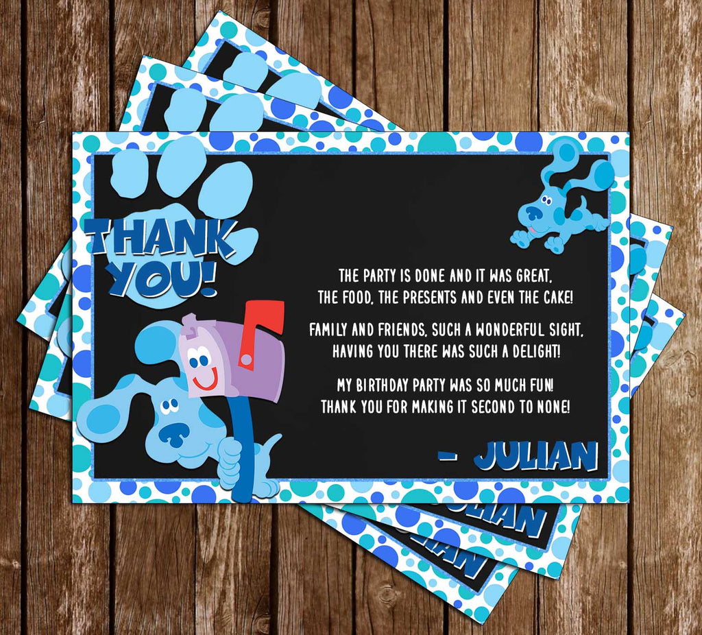 Blue's Clues - Nick Jr - Blue Birthday Party - Thank You Card
