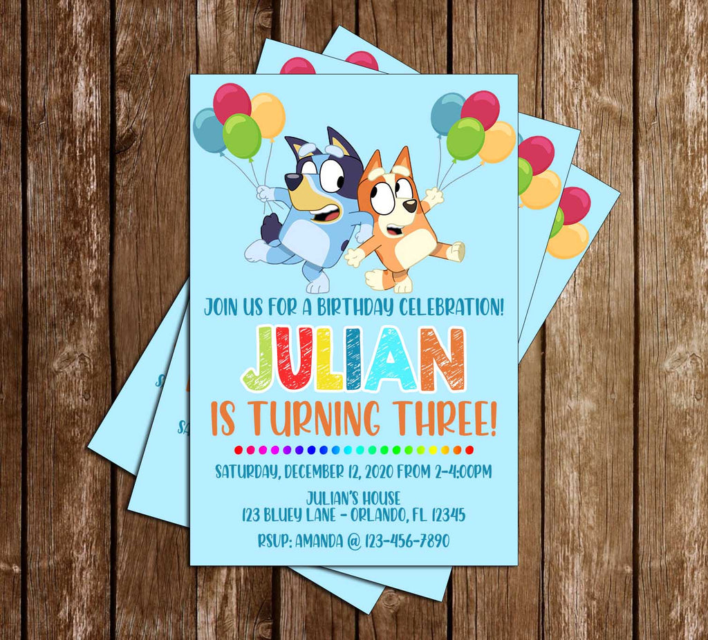 Bluey - Balloons - Birthday Party - Invitation