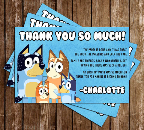 Bluey - Banner - Birthday Party - Thank You Card