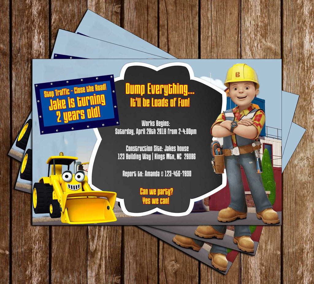 Bob the Builder - PBS Show -  Birthday - Invitation