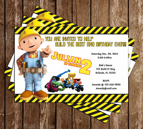 Novel Concept Designs Products – Bob the Builder Party Invitations