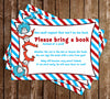 "Dr Seuss - Cat in the Hat - Thing One & Thing Two ""Bring a Book"" Baby Shower Invitation Insert"
