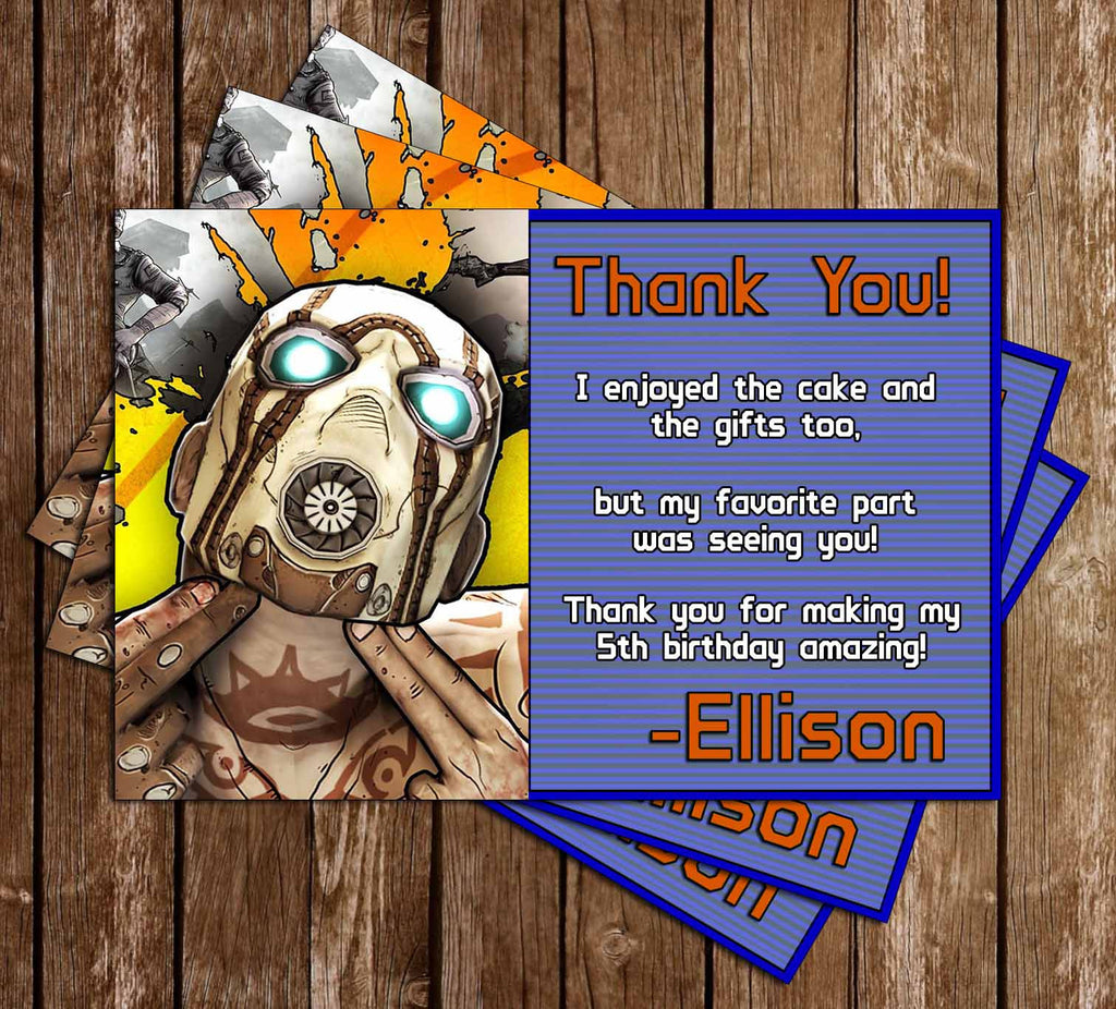 Borderlands Game Birthday Thank You Card