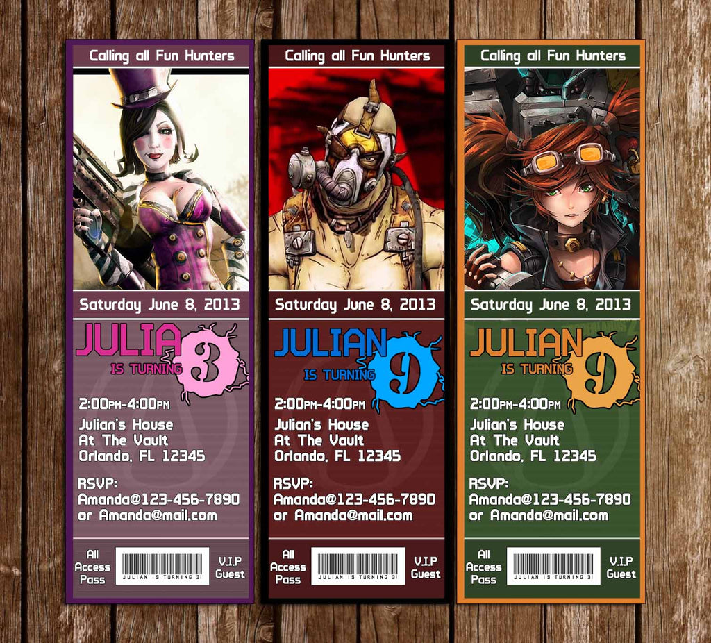 Borderlands Game Birthday Party Ticket Invitations