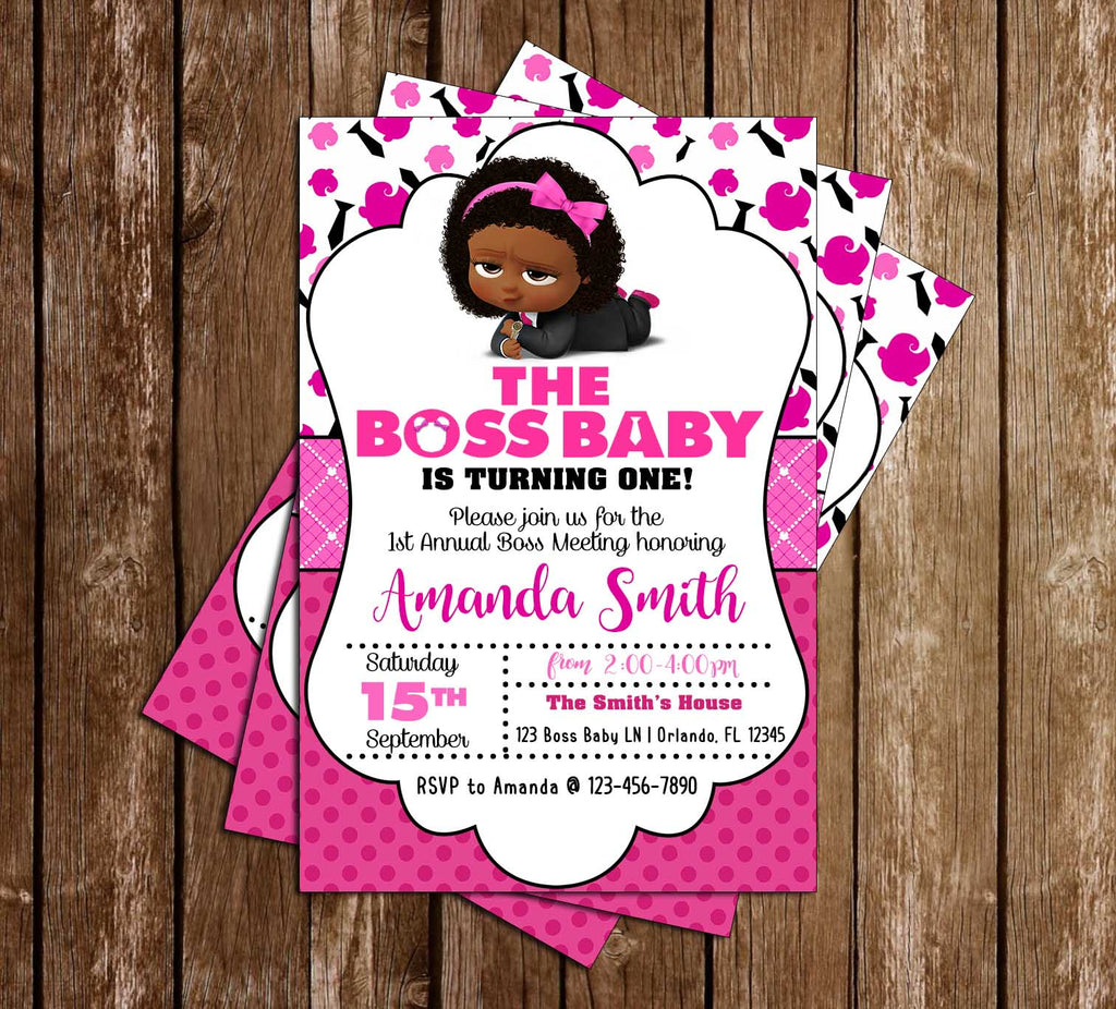 Boss Baby - Girl African - Birthday - Party - Invitation