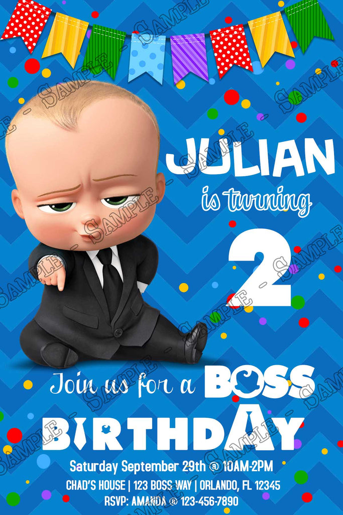 Boss Baby Banner Movie Birthday Party Invitation