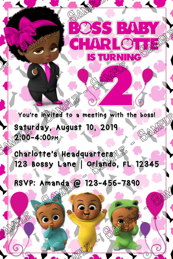 Boss Baby Girl Birthday Party Invitation