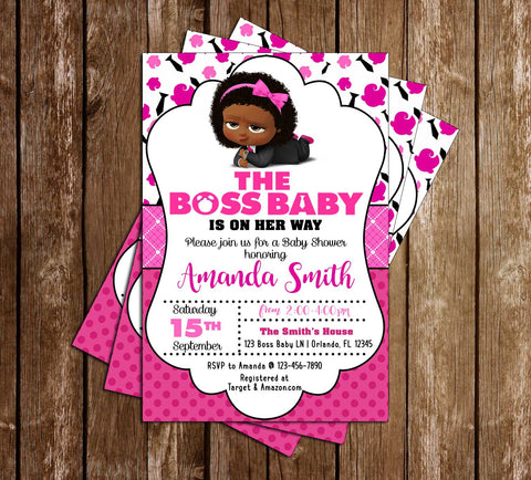 Boss Baby - Girl African - Baby Shower - Invitation