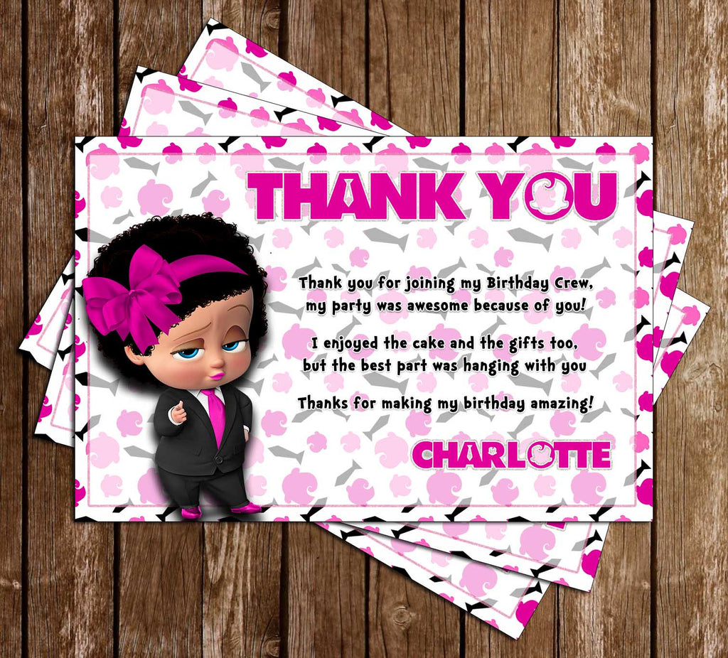 Boss Baby Girl Birthday Party Thank You Card