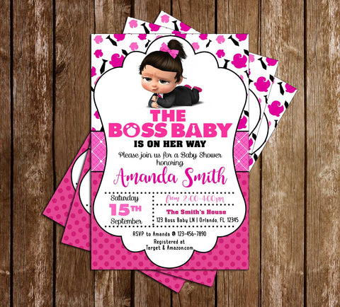 Boss Baby - Girl - Baby Shower - Invitation