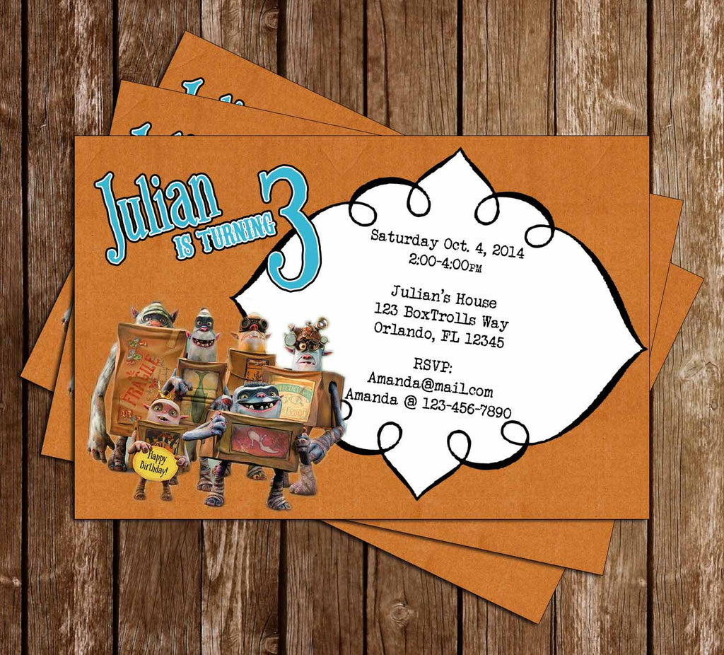 The Boxtrolls Birthday Party Invitations