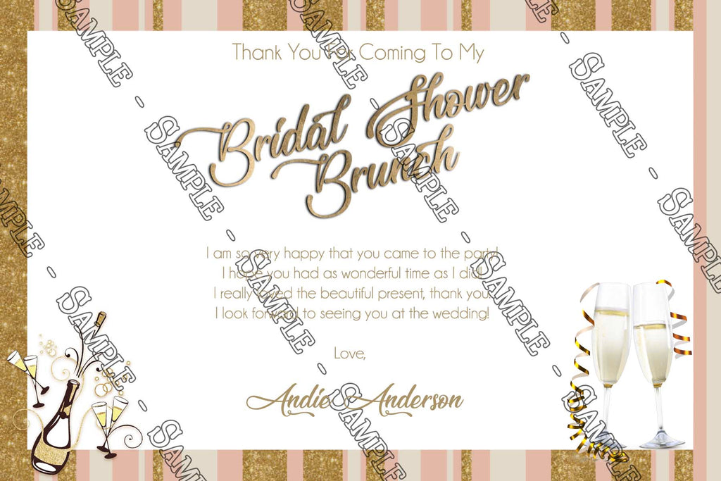 champagne brunch bridal shower thank you card
