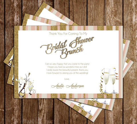 Champagne Brunch - Bridal Shower - Thank You Card