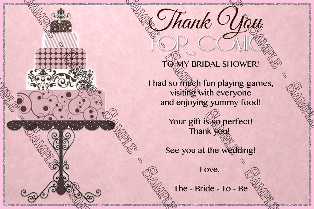 Novel concept designs classic pink bridal shower invitation classic pink bridal shower invitation thank you card filmwisefo Images
