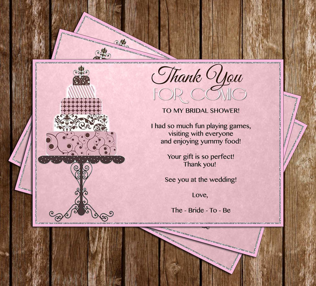 classic pink bridal shower invitation thank you card