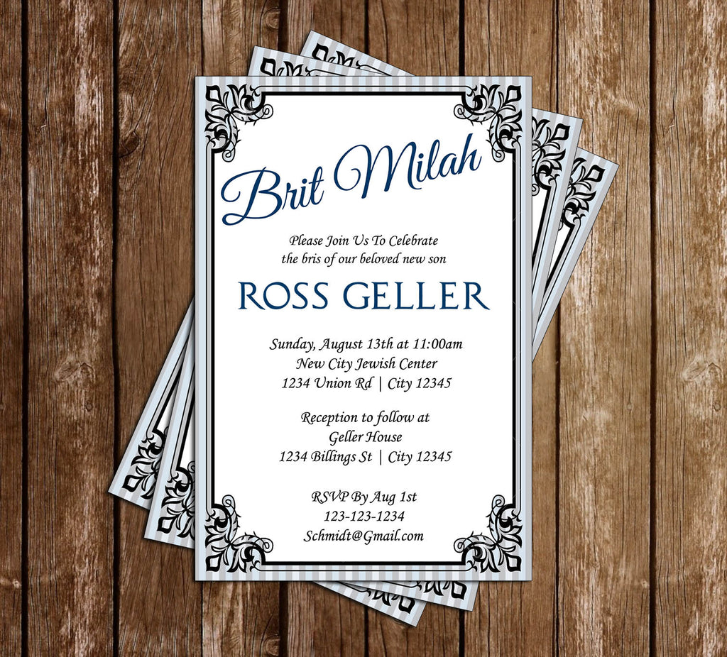Novel Concept Designs Brit Milah Jewish Naming Invitation