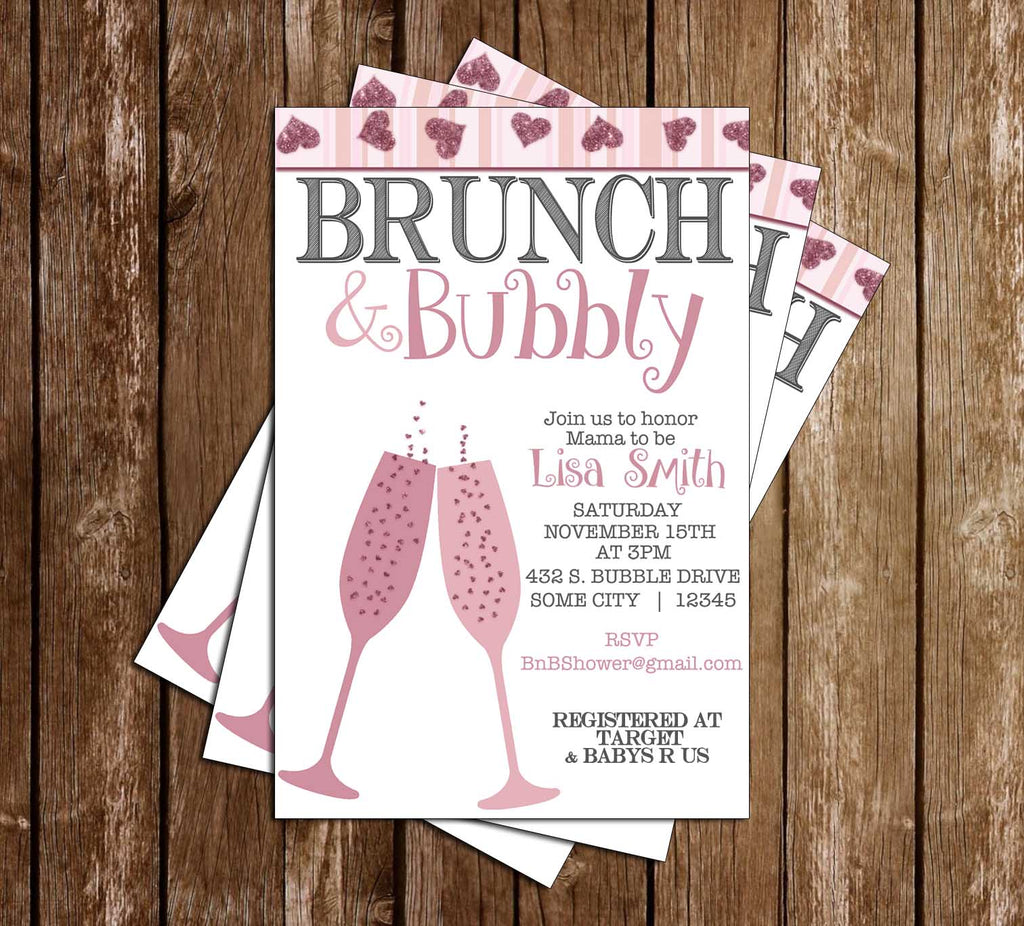 Novel Concept Designs - Brunch and Bubbly - Baby Shower - Invitation