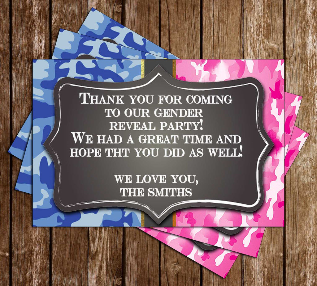 Buck or Doe - Gender Reveal - Baby Shower - Camo Thank You Card