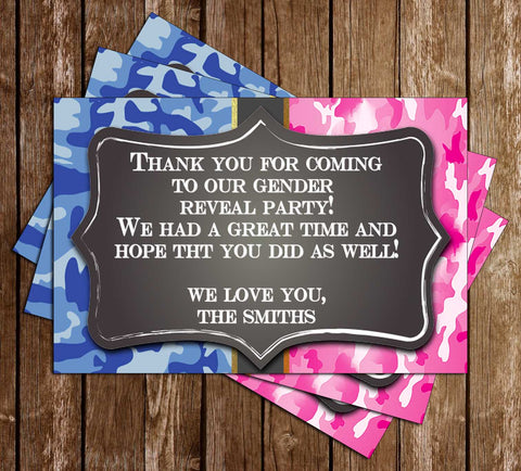 Buck or Doe - Gender Reveal Baby Shower - Camo Thank You Card