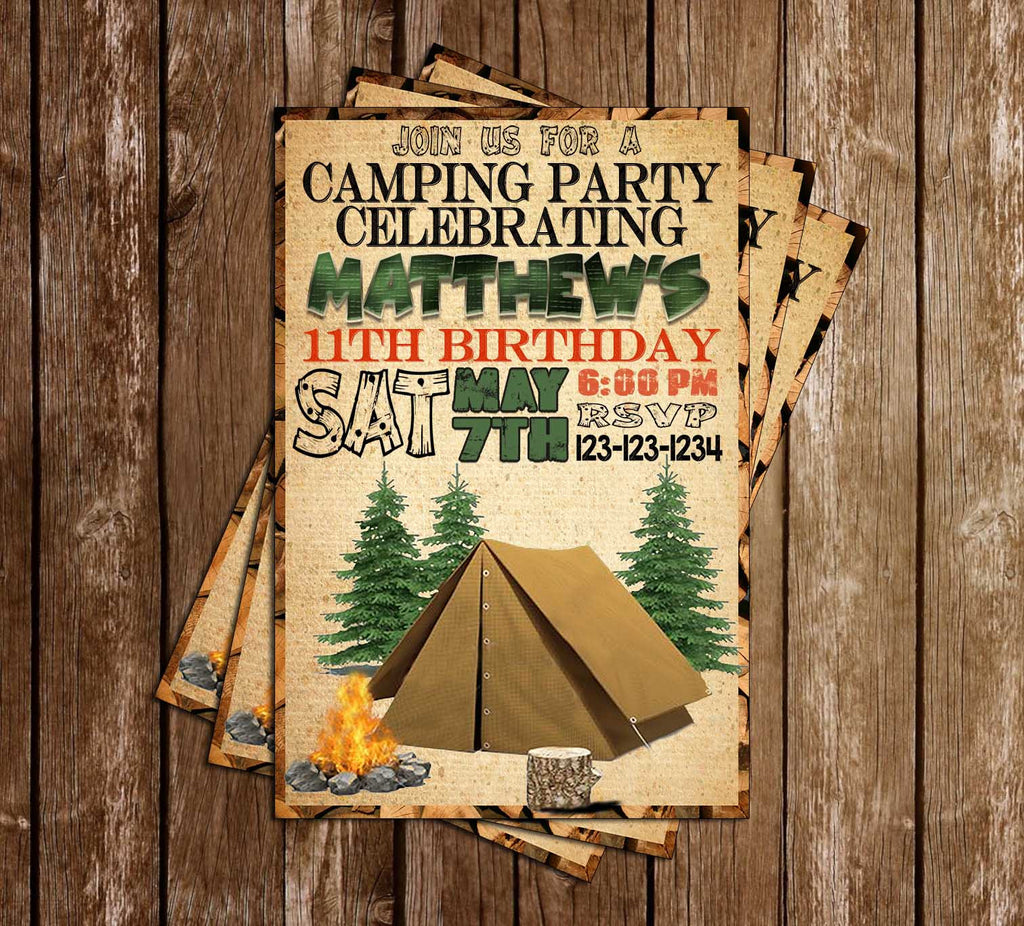 Camping - Tent - Woods - Birthday Party - Invitation