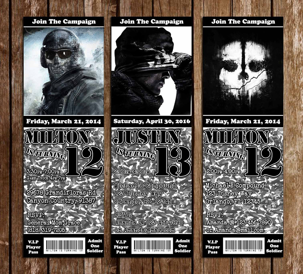 Call of Duty Ghost Video Game Birthday Ticket Invitation