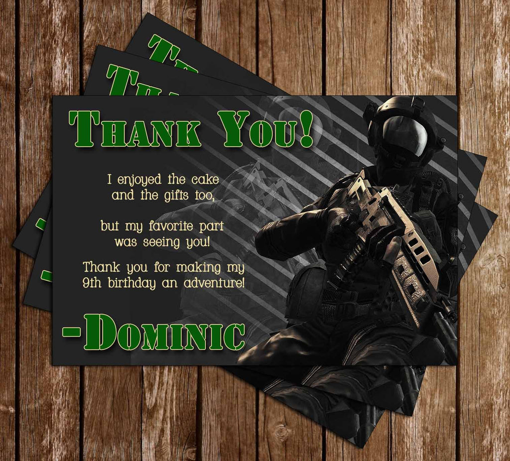 Call of Duty Video Game Birthday Thank You Card