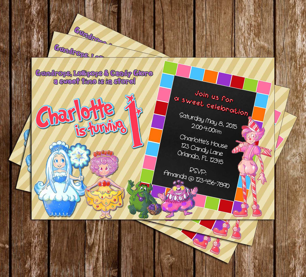 Candy Land Game Birthday Party Invitation