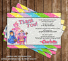 Candy Land Game Birthday Party Thank You Card