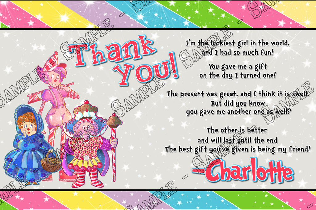 Novel Concept Designs Candy Land Birthday Party Thank You Card
