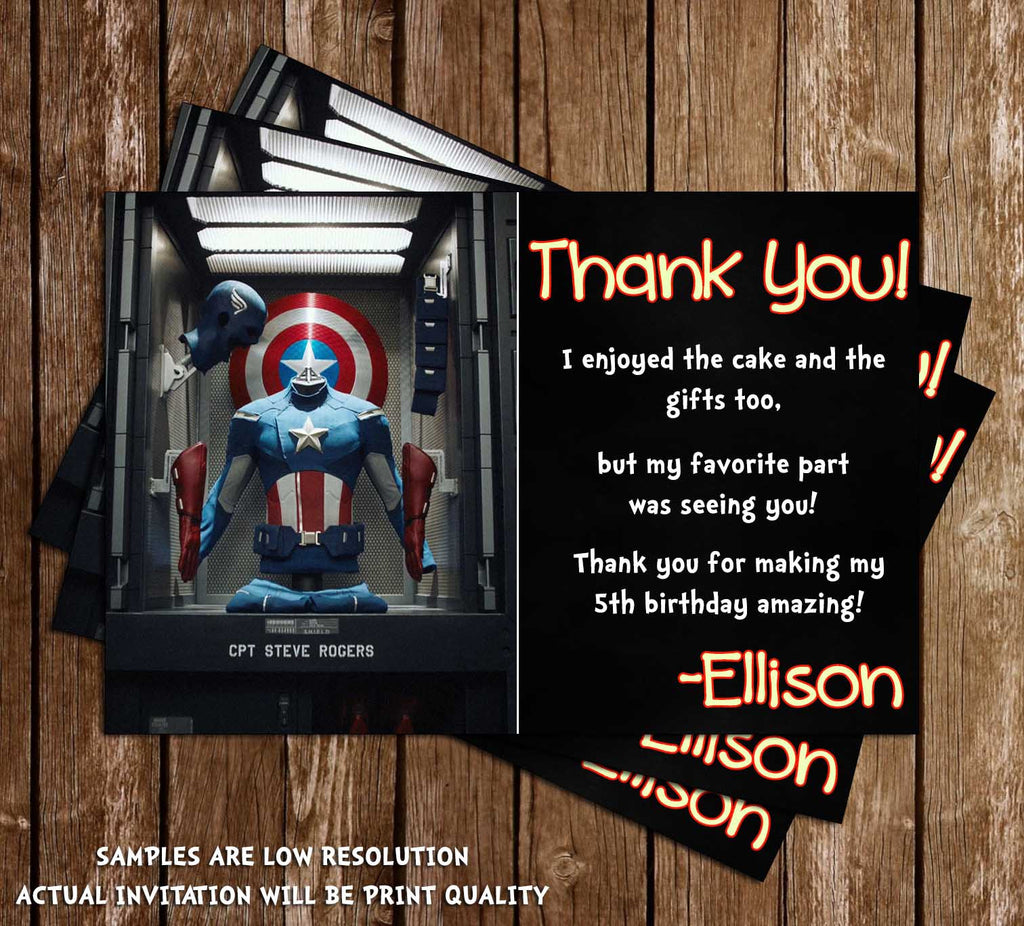 Captain America Birthday Thank You Card