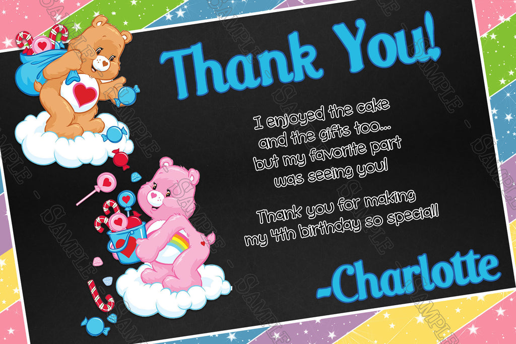 Novel Concept Designs The Care Bears Birthday Thank You Card
