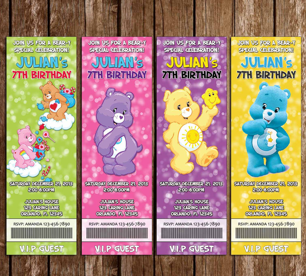 The Care Bears - Birthday Party Ticket Invitation