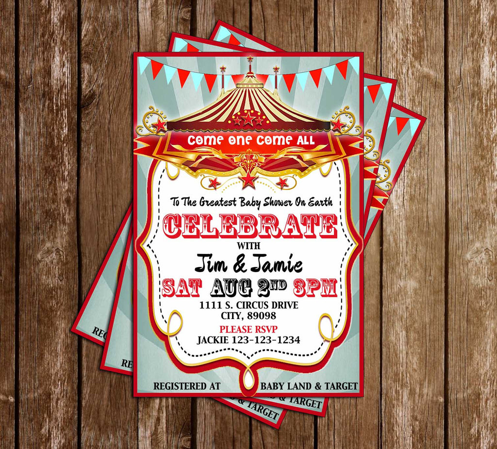 Greatest Shower of All - Carnival - Baby Shower - Invitation