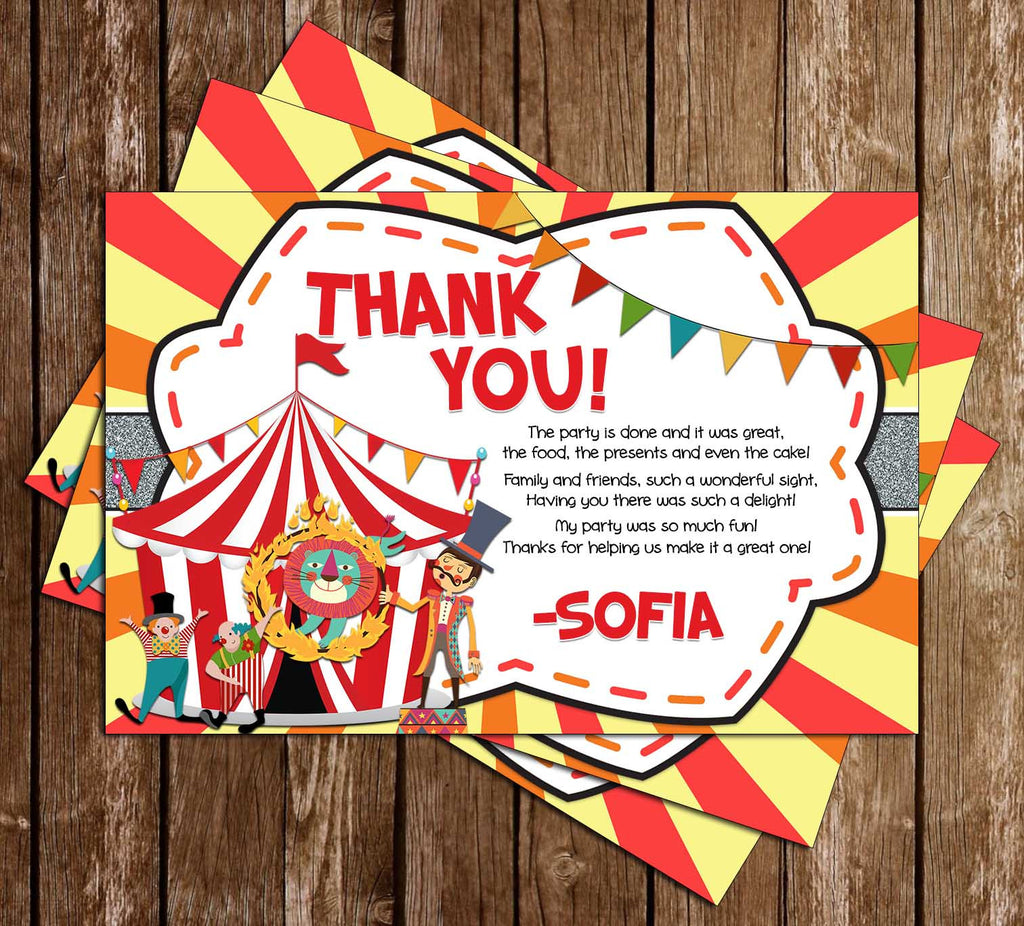 Carnival - Circus - Birthday Party - Thank You Card