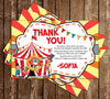 Circus - Carnival - Birthday Party - Thank You Card
