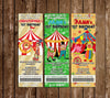 Carnival - Circus - Birthday Party Ticket Invitations