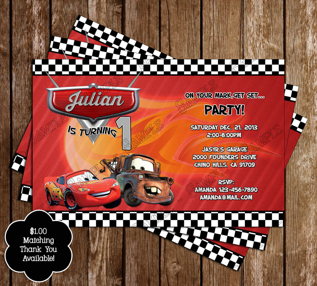 Novel Concept Designs - Disney\'s Cars Birthday Party Invitation